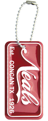 Personalized mini license plate key tags for car dealerships.