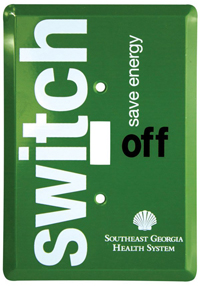 Remind people to switch off the light. Install a personalized light switch cover.