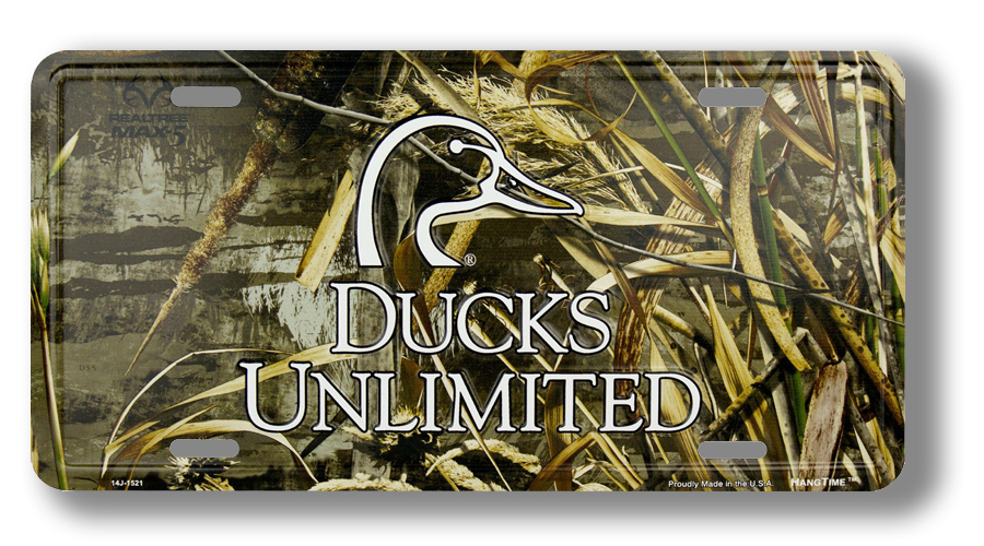 Ducks Unlimited License Plate with Camouflage Pattern