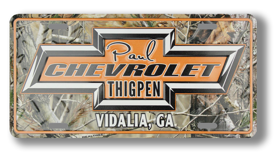 Chevy License Plate with Realtree Camouflage Pattern
