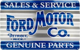 Metal corrugated sign for Ford Motor Company