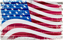 USA Flag on Metal Corrgated Sign
