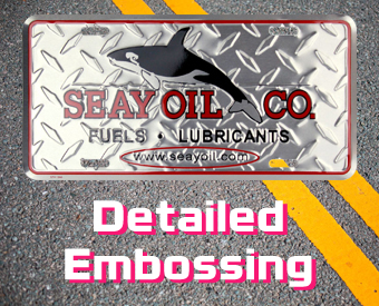 Detailed embossing for your custom signs. Many signs include diamond embossing.