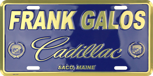 Example of reverse-out printing of a license plate.