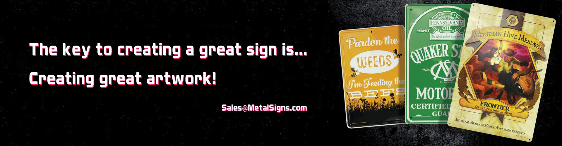 Artwork Information and requirements for ordering custom aluminum signs and plates.